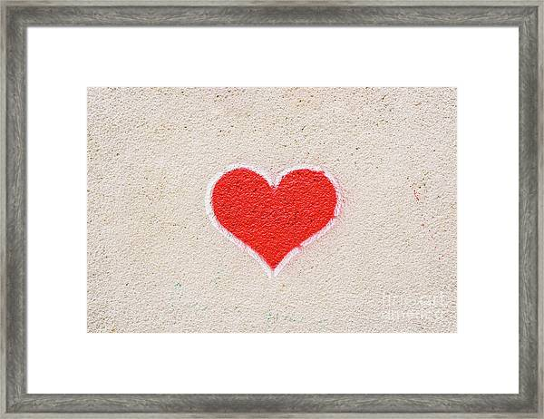 Red Heart Painted On A Wall, Message Of Love. Framed Print