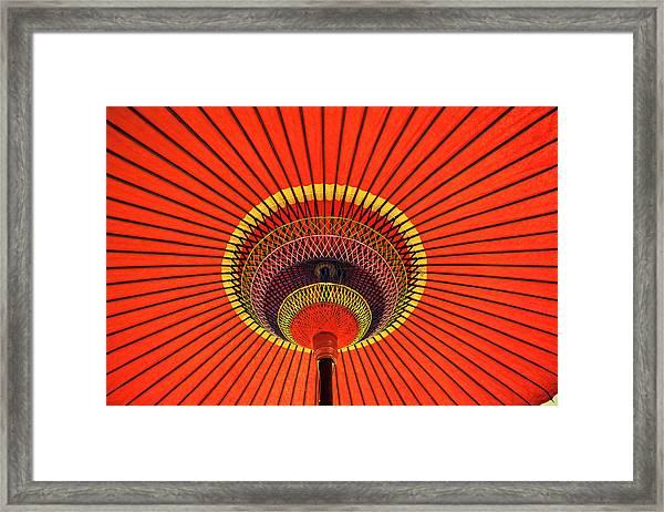Red Japanese Paper Umbrella Opened Framed Print