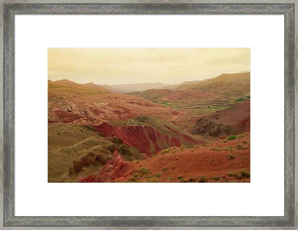 Red Mountain Landscape At Sunset In Framed Print