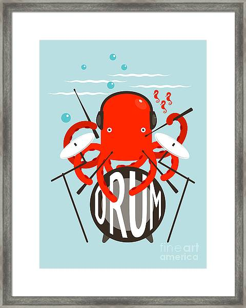 Red Octopus Playing Drums. Underwater Framed Print