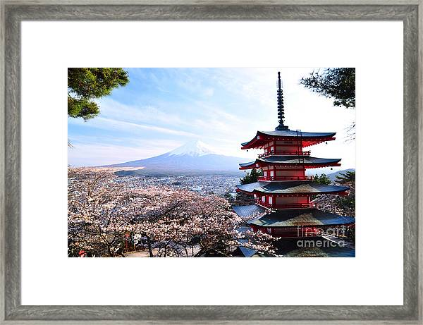 Red Pagoda With Mt. Fuji As The Framed Print