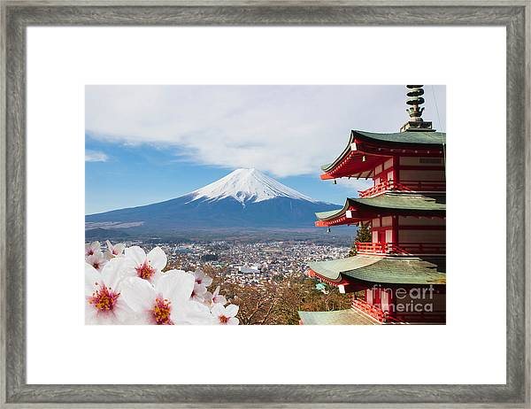 Red Pagoda With Mt Fuji Background And Framed Print by Tnshutter