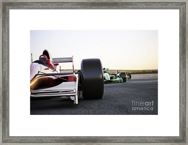 Red Race Car Close Up Front View On A Framed Print