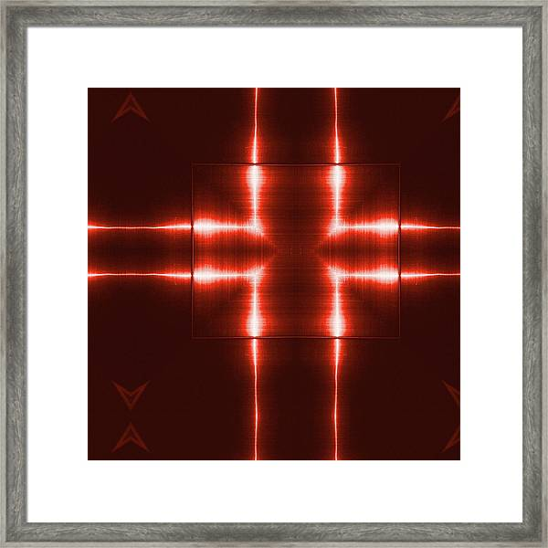 Red Reflecting Metallic Surface. Technological  Background.  Framed Print