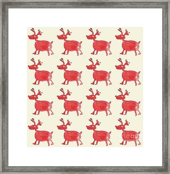 Red Reindeer Pattern Framed Print