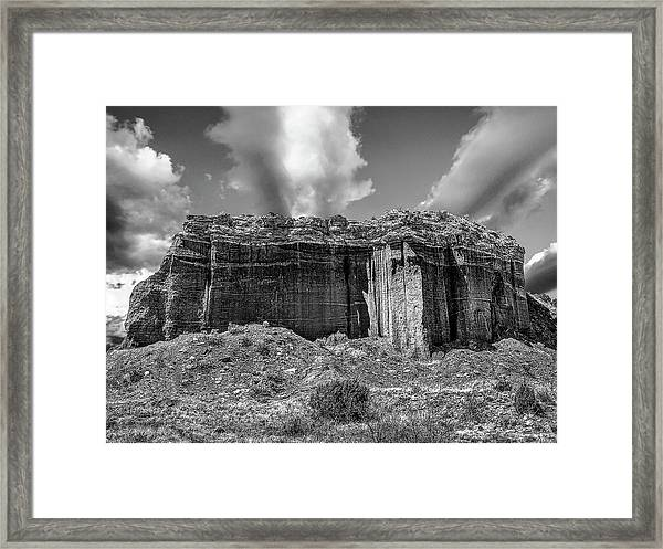Framed Print featuring the photograph Red Rock Bw by Scott Cordell
