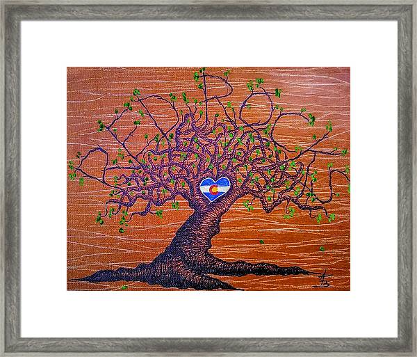 Framed Print featuring the drawing Red Rocks Lta W/ Foliage by Aaron Bombalicki