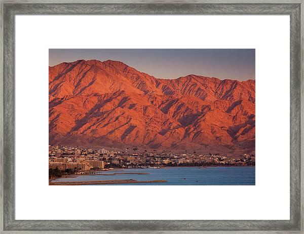 Red Sea Beachfront, Sunset View Towards Framed Print