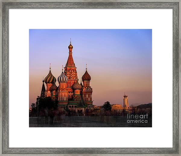 Red Square Sunset Framed Print