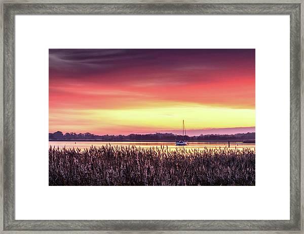 Red Sunset On Hickling Broads, Norfolk Framed Print