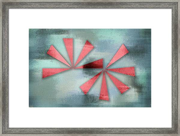 Red Triangles On Blue Grey Backdrop Framed Print