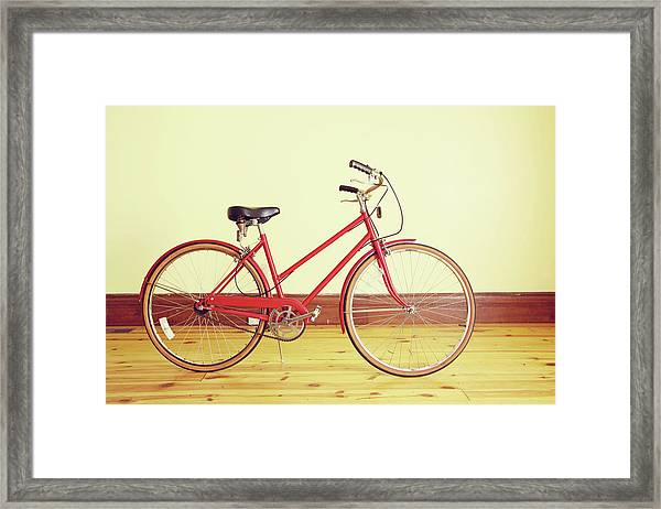 Red Vintage Retro Bicycle Abstract Framed Print by Eyecrave