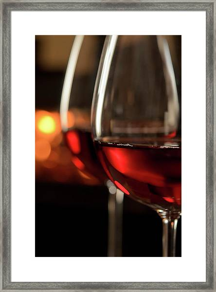 Red Wine By The Fire Framed Print
