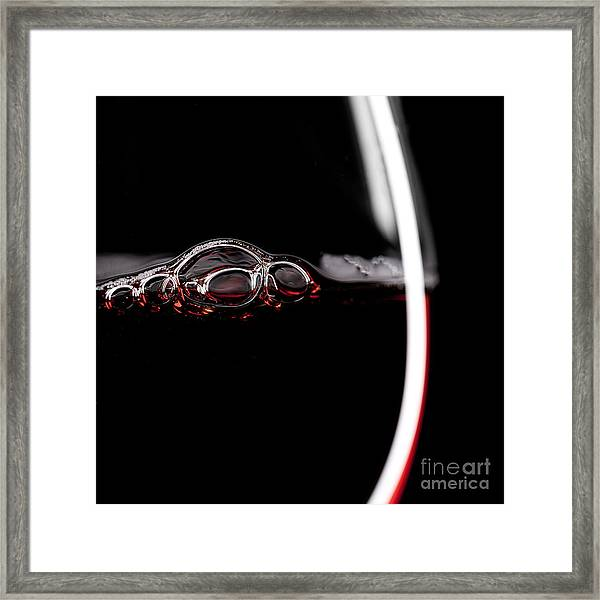Red Wine Glass Silhouette On Black Framed Print