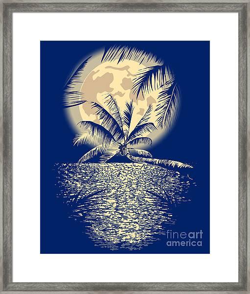 Reflected In The Ocean Full Moon On Framed Print