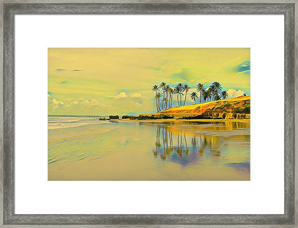 Reflection Of Coastal Palm Trees Framed Print