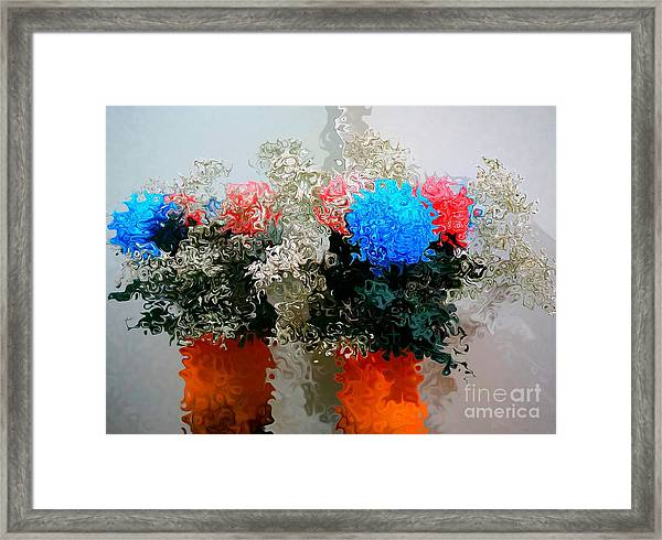 Reflection Of Flowers In The Mirror In Van Gogh Style Framed Print