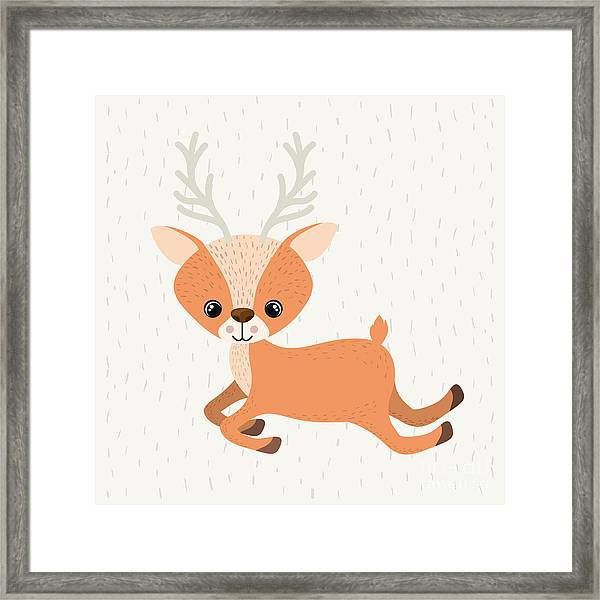 Reindeer Cute Wildlife Icon Vector Framed Print