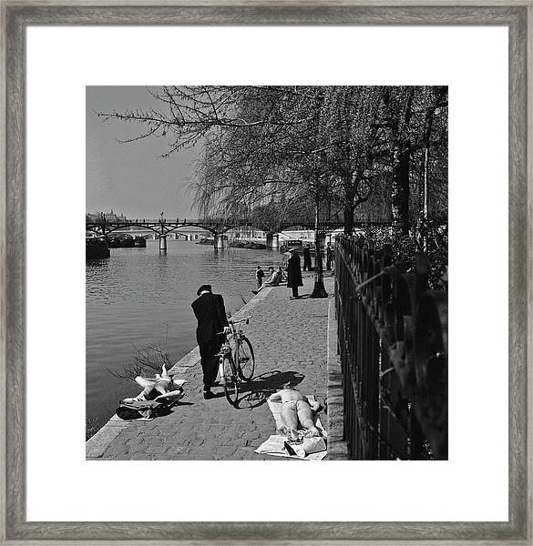Relaxing By The Seine Framed Print