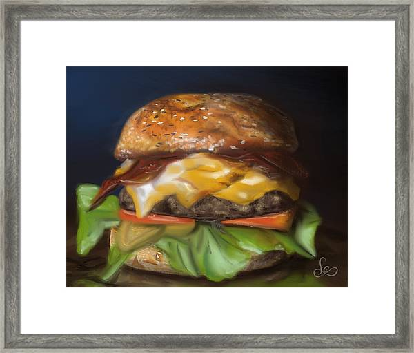 Framed Print featuring the pastel Renaissance Burger  by Fe Jones