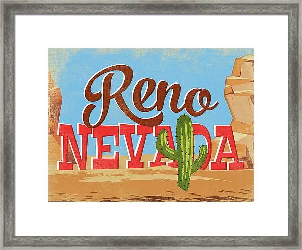 Reno Nevada Cartoon Desert Framed Print