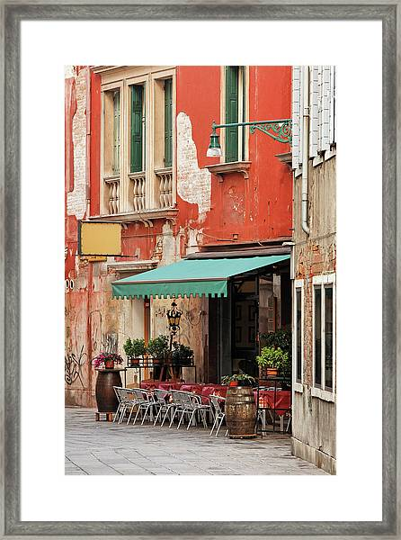 Restaurant In Venice Framed Print