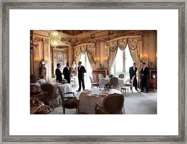 Restaurant Louis Xv At The Hotel De Framed Print