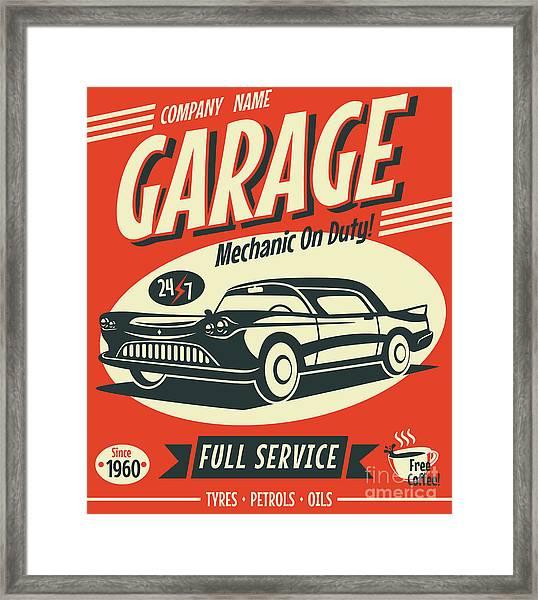 Retro Car Service Sign. Vector Framed Print