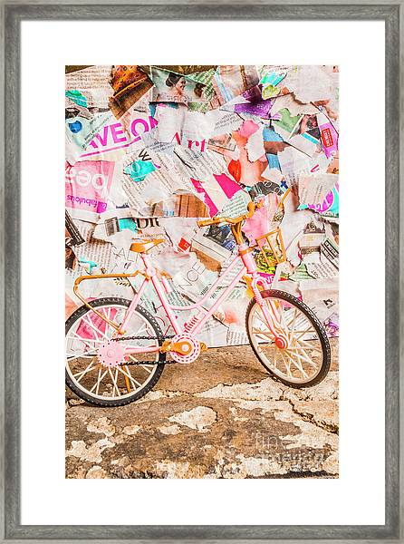 Retro City Cycle Framed Print