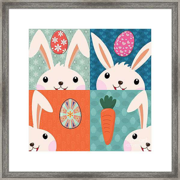 Retro Easter Bunny With Painted Eggs Framed Print