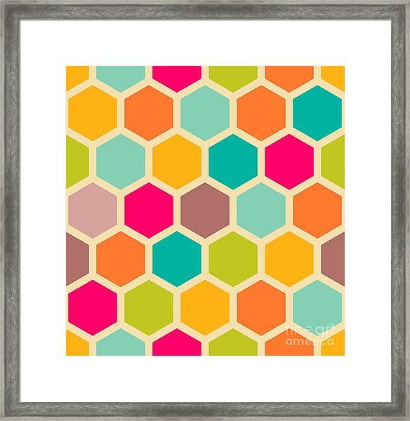 Retro Geometric Hexagon Seamless Pattern Framed Print