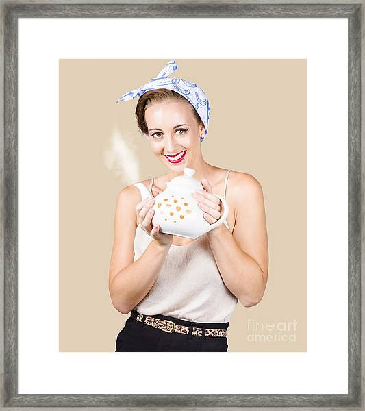 Retro Housewife With Teapot Framed Print
