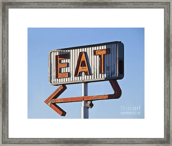 Retro Neon Eat Sign Ruin In Early Framed Print