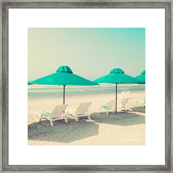 Retro Pastel Beach Framed Print by Andrekart Photography