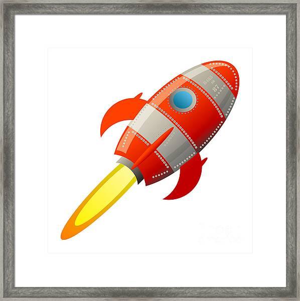 Retro Rocket, Vector Illustration Framed Print