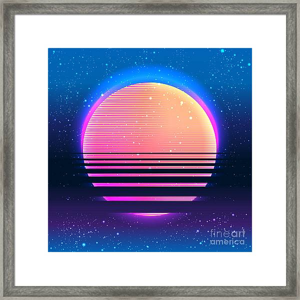 Retro Vintage 80s Or 90s Geometric Framed Print