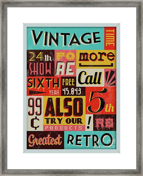 Retro Vintage Background With Typography Framed Print