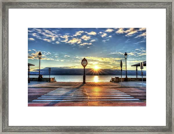 Revere Beach Clock At Sunrise Angled Long Shadow Revere Ma Framed Print