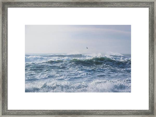 Reynisfjara Seagull Over Crashing Waves Framed Print