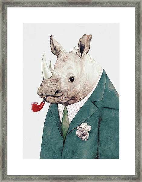 Rhino In Teal Framed Print
