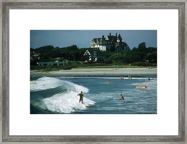 Rhode Island Surfers Framed Print by Slim Aarons
