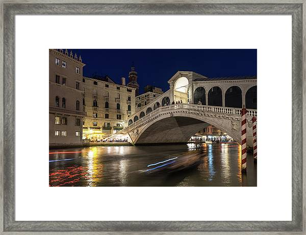 Rialto Bridge Midnight - Slow Mo Boats Light Trails Framed Print