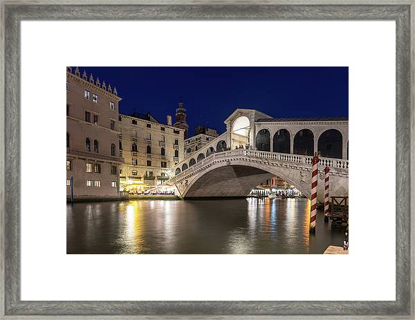 Rialto Bridge Midnight - Venice Italy Night Magic Framed Print