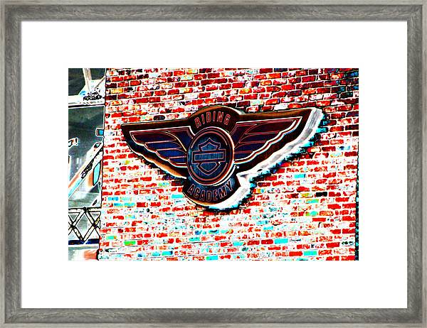 Riding Academy Sign In Solar Colors  Framed Print