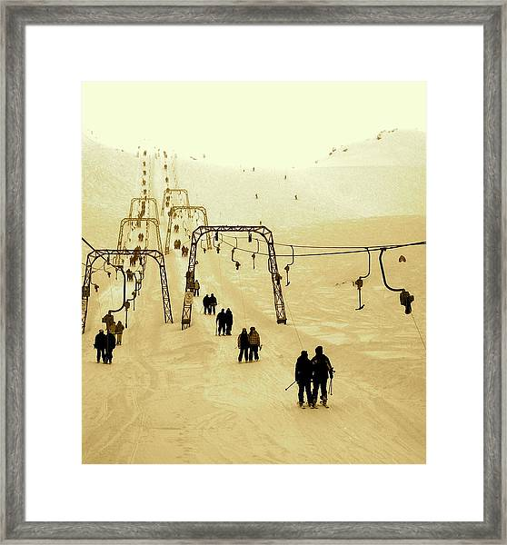 Riding The Old T-bars Framed Print
