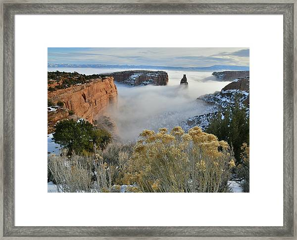 Rim Rock Drive View Of Fogged Independence Canyon Framed Print