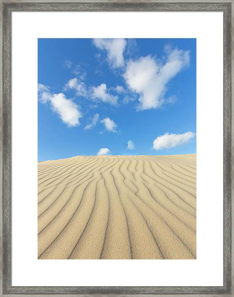 Rippled Sand Dune And Blue Sky With Framed Print