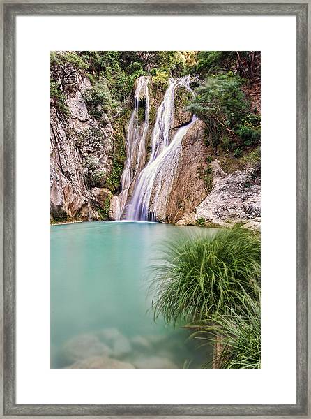 Framed Print featuring the photograph River Neda Waterfalls by Milan Ljubisavljevic