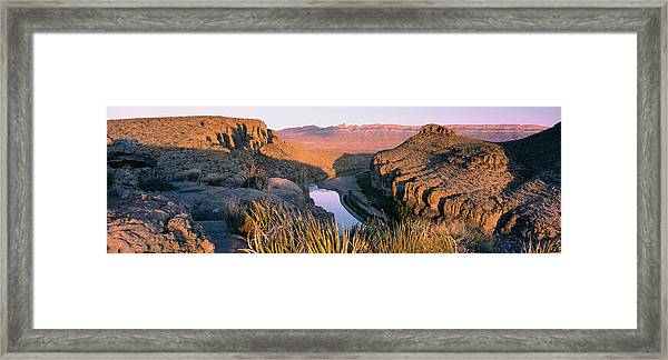 River Passing Through Mountains, Big Framed Print