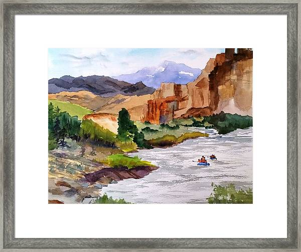 River Rafting In Montana Framed Print